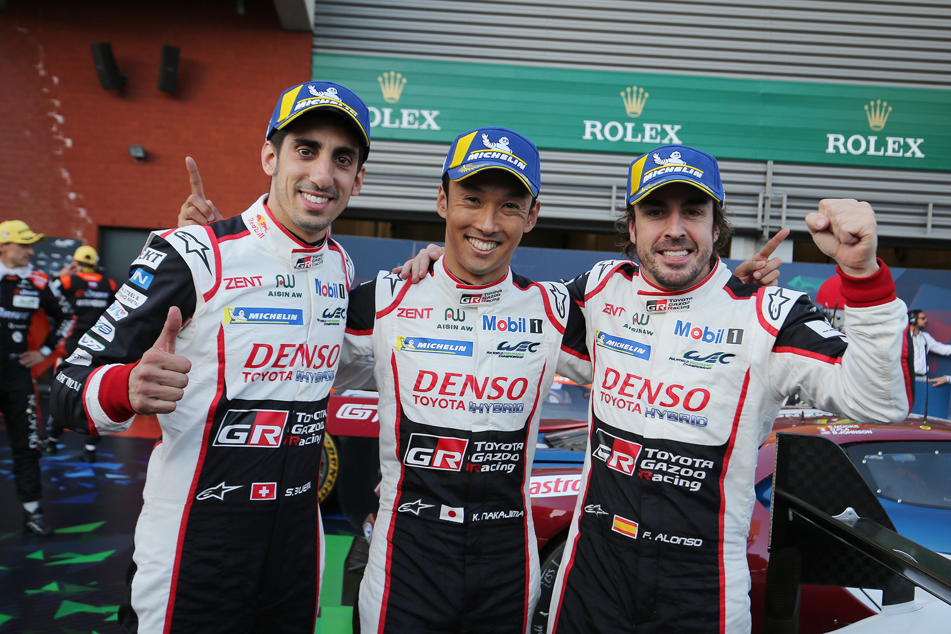 Race winner Fernando Alonso (ESP) with Kazuki Nakajima (JPN)  and Sebastien Buemi (SUI)   TOYOTA GAZOO  Racing.  World Endurance Championship 6 Hours of Spa. 2nd to 5th May 2018 Spa Francorchamps, Belgium.